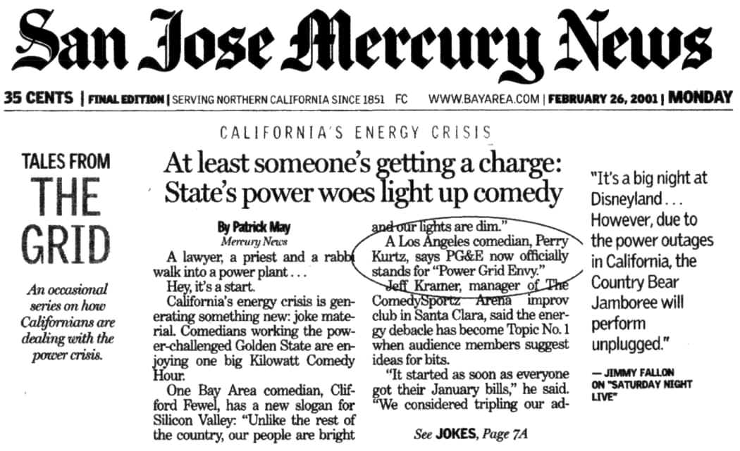 Perry on the Front Page of The SJ Mercury